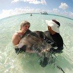 Me kissing a stingray at Gibbs Cay and Stingray Encounter