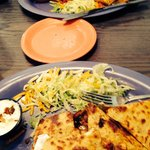 Chicken quesadilla & black bean & crab burrito