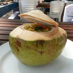 A cool drink with food on the way