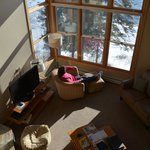 Photo taken from the second story loft looking down on living room.