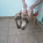 Dirty feet after walking from the bed to the barthroom