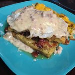 Bacon stuffed baked French Toast with fried egg and gravy