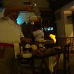 Cooking the shrimp in front of us
