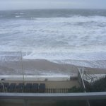 More than average high tide covering beach