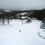 View of foot of slope - best powder skiing day after the blizzard
