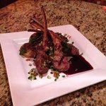 Grilled Lamb Chops with a Black Cherry Reduction, Cucumber Relish, Roasted Potatoes, and Grilled