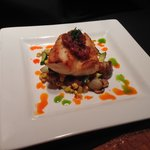 Pan Seared Local Vermillion Rockfish with Bacon Jam and a Red Potato Hash with Corn, Zucchini, a