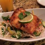Pan Seared Local Vermillion Rock Fish with a Miso Honey Glaze, and a Rice Noodle Salad with Fres