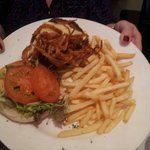 Outstanding cheeseburger, tobacco onions and skinny fries