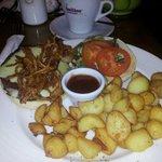 Cheeeburger, tobacco onions and garlic cubed potatoes.