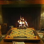 A game of Scrabble by the fire.