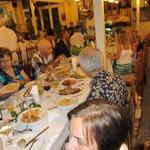 Our big group eating at Taki's Caravella