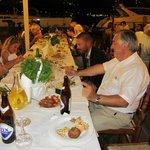 Big group eating at Taki's