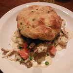 Chicken pot pie with corn bread