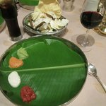 The starting plate at DakShin,  The Indian wine is quite good