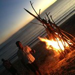Private beach dinner and bonfire organised by the local villagers
