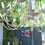 Chandalier in cottage yard
