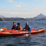Father and sons exploring Loch Laxford (Ben Stack behind)