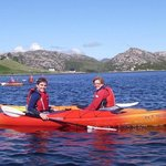 Mother and son kayaking on Loch A Chadh-Fi