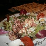 Salad with bacon and Alsatian Tome cheese