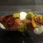 Chicken Curry: Curry Quinoa Risotto, chicken balls and coriander sponge