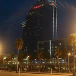 The hotel from the beach at night