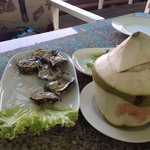 fresh oysters and young coconut