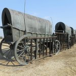 Commemorative (bronze) wagons chained & gated together to reproduce the Voortrekker laager.