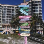 cool sign outside the hotel on the beach