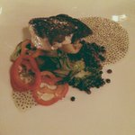 Tile fish with basil seeds in coconut milk