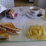 Club sandwich, fresh juice and coffee at Id Café