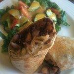 Seafood burrito & fresh side salad