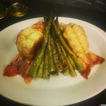 Beautiful spiny lobster tails with grilled asparagus!