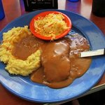 Salisbury steak, mashed potatoes & Cole slaw
