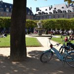 Blue Bikes at the Place de Vosges