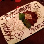 Our special anniversary dessert, compliments of Perry's.