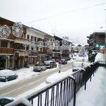 view over road into village centre