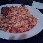 Tagliatelle w/ one meatball and one small sausage