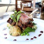lamb cutlets, warm new potato and rocket salad with criolla sauce