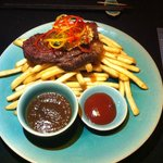 NZ beef steak with red wine sauce