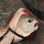 Detail from Bosch's work.  I had so much fun with this painting!