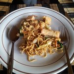 Food for vegetarian - spring roll and fried noodle