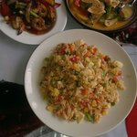 Penang curry, vegetable fried rice & shrimps in pepper