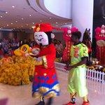 Lion dance in Lobby !
