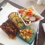 delicious blackened mahi mahi with pineapple salsa! Heavenly!