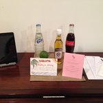 Complimentary Rum and Coke, Soda & Welcome card