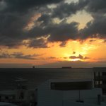 Sunset from the rooftop bar looking towards Cancun