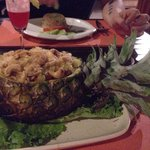 Baked rice with pineapple.... IN a pineapple!