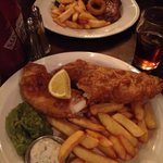 Cod and chips, rib eye perfectly medium and awesome ale