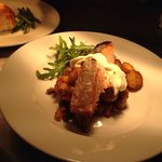 Grilled salmon, Bombay potatoes and chive creme fraiche